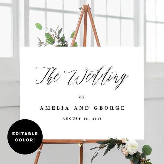 2 sizes wedding welcome sign poster templates with editable etsy