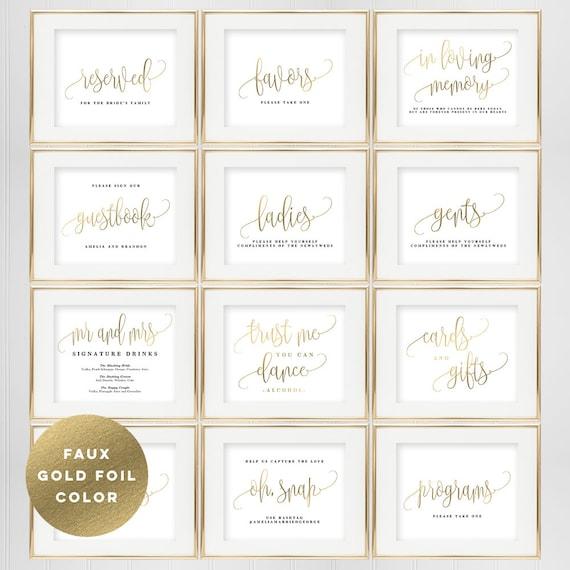 Bundle Deal Wedding Sign Templates Set Printable Wedding Etsy