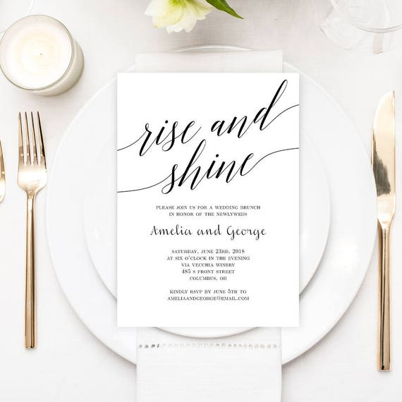 Wedding Brunch Or Wedding Breakfast Invitation Template