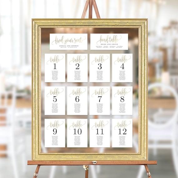 Wedding Seating Chart Template Set Printable Table Seating | Etsy