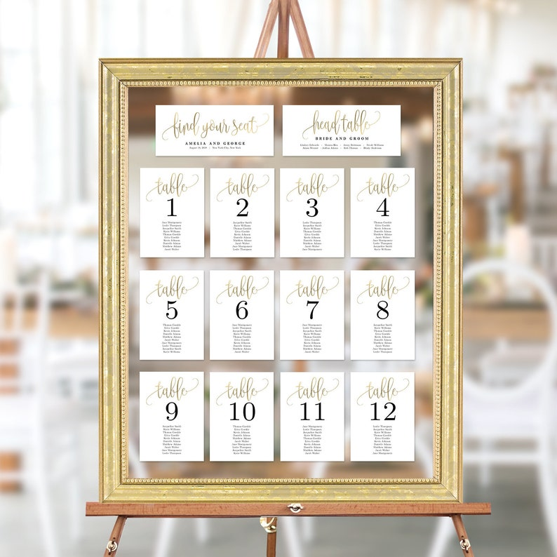 photo regarding Printable Seating Chart named Wedding day Seating Chart Template Mounted Printable Desk Seating Method - Editable Templates Immediate Obtain Fake Gold Foil Stunning Calligraphy #LCC