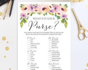 What's In Your Purse Bridal Shower Game - Wild Flower Bridal Shower Game - Wedding Shower - Floral - Print at Home - Instant Download