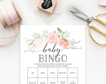 Baby Shower Bingo  - 60 Unique Game Sheets - Baby Shower Games - Girl Baby Shower - Pastel Blush - Pink - Instant Download - Baby Shower