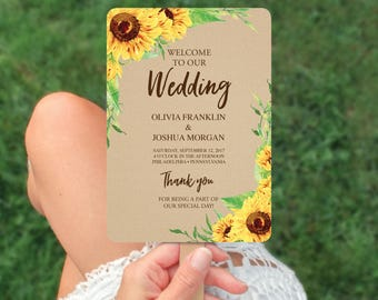 Wedding Programs - Wedding Program Template - Sunflower Wedding Fan Program - Editable Wedding Program - DIY Program - Instant Download