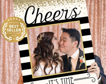 new years eve cheers photo prop photo booth props new years eve photo booth frame pop champagne printed option available