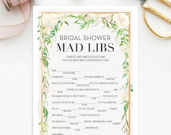 Bridal Shower Mad Libs - Bridal Shower Game - Wedding Shower - Graceful Greens - Print at Home - Instant Download - Creative Union Design