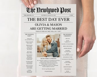 Newspaper Wedding Program - Printable Wedding Programs - Wedding Program Template - Fun Wedding Programs - Decor - Editable - Newspaper