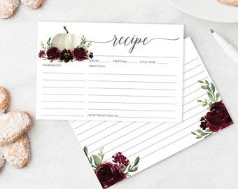 Recipe Card Printable - Printable Recipe Card - Bridal Shower Recipe Cards - 4x6 Recipe Card - Burgundy Pumpkin - Creative Union Design