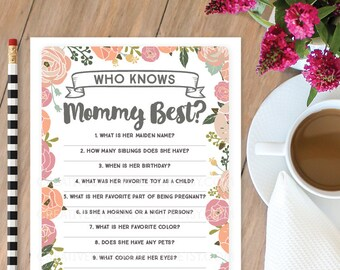 Who Knows Mommy Best Baby Shower Game - Vintage Rose - Baby Shower Game - Who Knows Mommy Best - DIY Printable Game - Instant Download