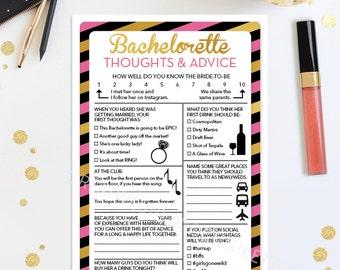 Advice For The Bachelorette - Bachelorette Party Game - DIY - Hen Party - Girls Night Out - Funny Bachelorette Survey Bachelorette Activity