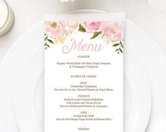 wedding menu printable dinner menu cards template printable menu menu cards for wedding bridal shower decorations pink floral