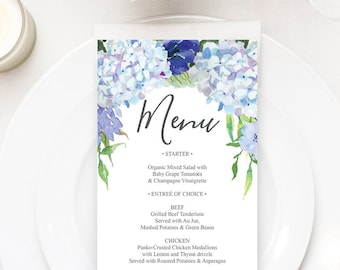 menu wedding menu editable wedding menu rustic blue hydrangea shower menu 4x8 menu bridal shower menu printable menu