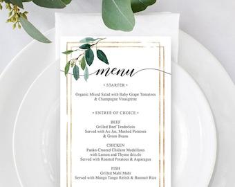 menu template wedding menu printable menu card bridal shower menu menu for wedding editable pdf greenery garden greens