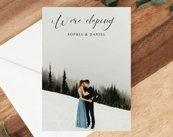We Eloped Wedding Elope Invitation Printable Elopement Announcement INSTANT DOWNLOAD Helena Elopement Editable pdf Template
