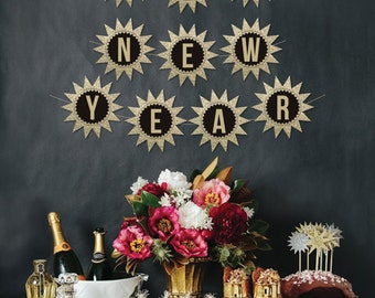happy new year star banner new years decoration new years eve banner vintage new years banner diy banner decor instant download