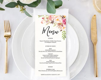 menu wedding menu diy wedding menu rustic wedding antique rose diy shower menu 4 x 8 menu bridal shower menu printable menu