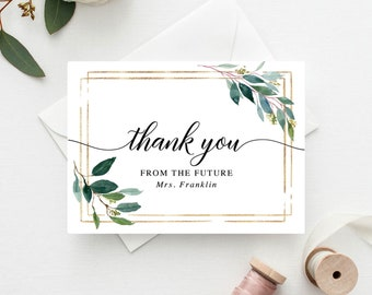 thank you cards baptism thank you card bridal shower thank you cards wedding thank you cards garden greens printed folded cards