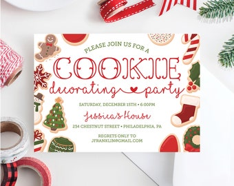 Christmas Cookie Party Invite.Holiday Cookie Party Etsy