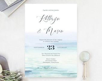 Beach Wedding Wedding Invite Blue Ombre Beach Wedding Invitation Set INSTANT DOWNLOAD DIY Printable Invite Templett Editable pdf Beachy