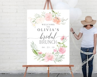 welcome sign bridal shower welcome sign bridal brunch welcome sign printed bridal shower sign pastel blush welcome