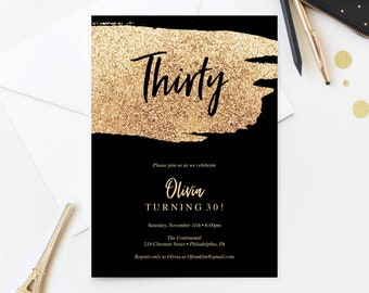 Gold Glitter Birthday Invitation For Her