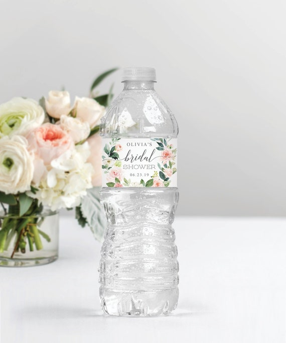Bridal Shower Water Bottle Bands Water Bottle Label Template Editable Printable Shower Favors Instant Download Blushing Blooms
