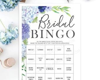 Bridal Shower Bingo Game - 76 Unique Game Sheets - Wedding Shower Game - Shower Bingo - Blue Hydrangea - Bridal Bingo Instant Download