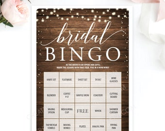 Bridal Shower Bingo Game - 76 Unique Game Sheets - Wedding Shower Game - Bridal Bingo - Rustic Wood - String Lights - Instant Download