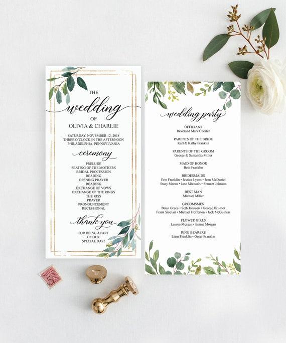 greenery wedding programs template 4x8 wedding program etsy