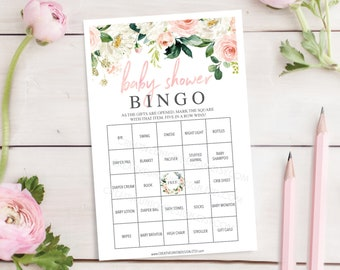 Baby Shower Bingo  - 60 Unique Game Sheets - Baby Shower Games - Girl Baby Shower - Airy Blush - Pink - Instant Download - Baby Shower
