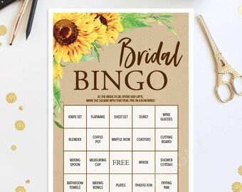Bridal Shower Bingo Game - 76 Unique Game Sheets - Wedding Shower Game - Shower Bingo - Sunflower - Rustic Bridal Bingo Instant Download