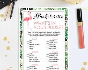 Bachelorette Party What's In Your Purse Game - Bachelorette Party Game - DIY - Hen Party - Girls Night Out - Flamingo Instant Download Game