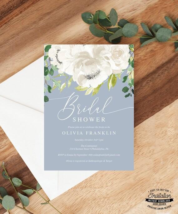 Bridal Shower Invitation Printable for Dusty Blue Bridal Shower White Bridal Shower Invitations Gray Bridal Shower Invites 005