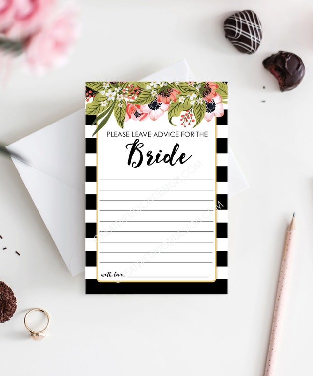 advice for the bride bridal shower bridal shower game keepsake guest book alternative bridal shower printable