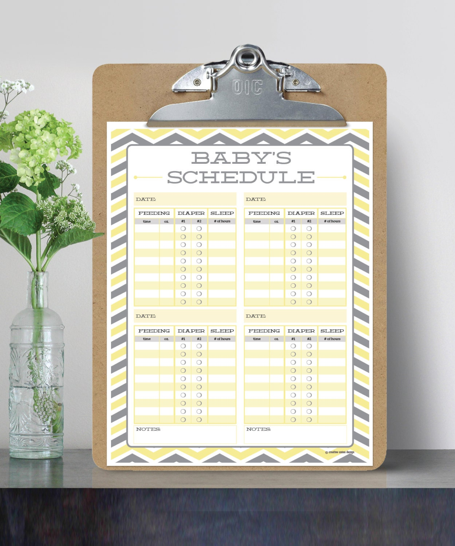 Babys Schedule Baby Feeding Schedule Breast Feeding Schedule Baby Sleep Schedule Print At Home Instant Download