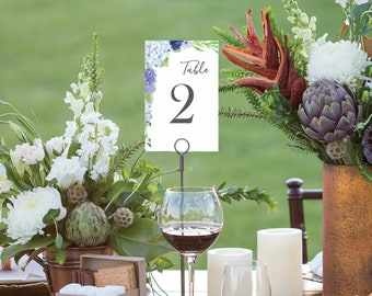 Table Numbers - Wedding Table Numbers - 4x6 Wedding Table Signs 1-40 - Reserved Sign - Head Table - Instant Download - Blue Hydrangea