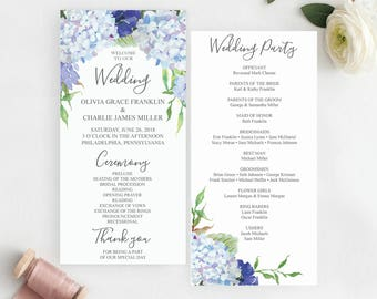 Hydrangea Wedding Programs Template - Printable Wedding Program - Ceremony Template - Editable Program - Instant Download - Blue Hydrangea
