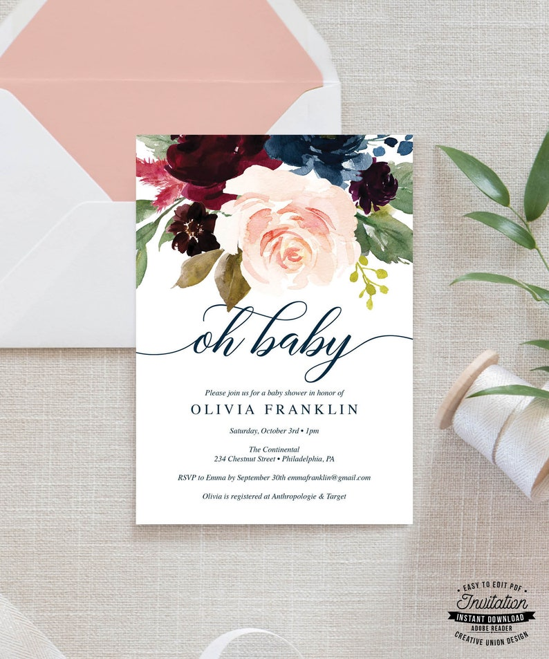picture regarding Etsy Printable Invitations identified as Little one Shower Invitation - Oh Kid Invite - Boy or girl Brunch - Little one Shower Invitations - Editable Printable Invite - Prompt Obtain - Breezy Burgundy