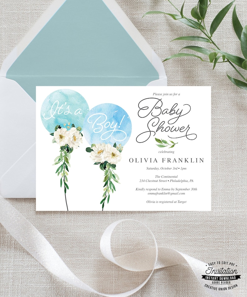 It S A Boy Baby Shower Invitation Template Baby Shower Etsy