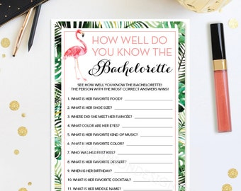 How Well Do You Know The Bachelorette - Bachelorette Party Game - DIY - Hen Party - Girls Night Out - Flamingo - Instant Download - DIY