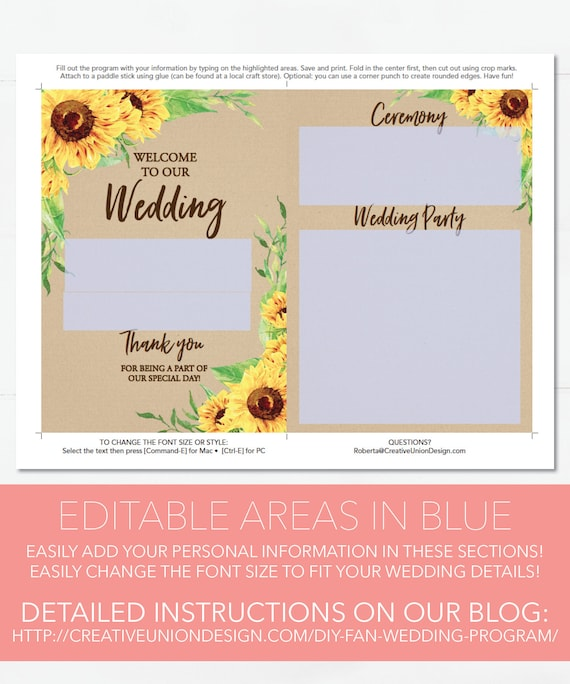 wedding programs wedding program template sunflower etsy
