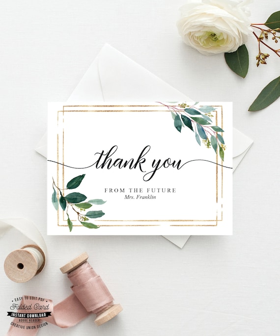 Printable Thank You Cards Bridal Shower Wedding Baptism Folded Thank You Card Template Personalized Thank You Garden Greens By Creative Union Design Catch My Party,Wedding Dress Fitted Mermaid