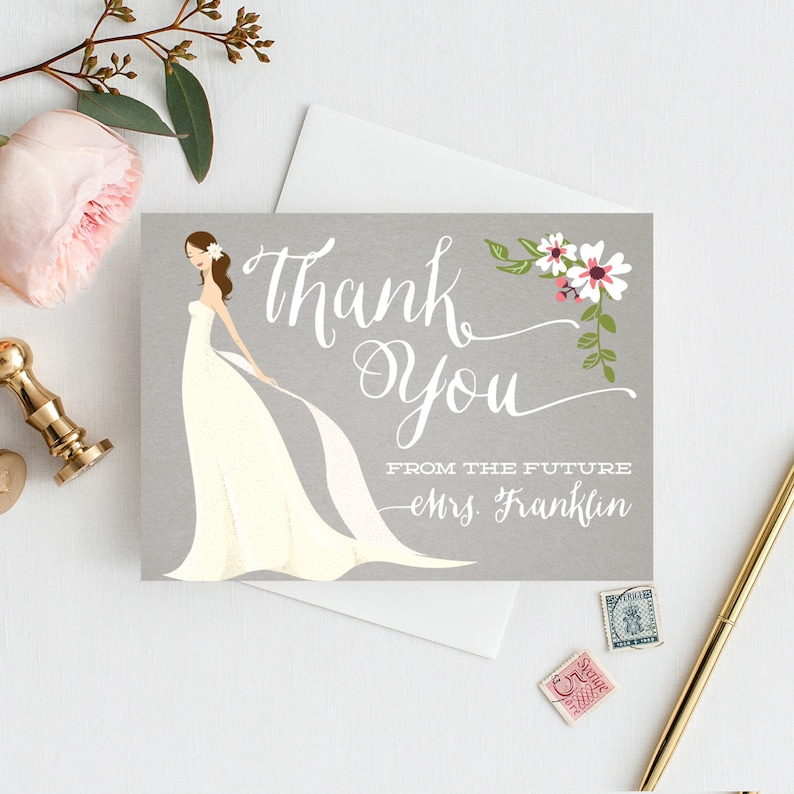 68156688b3bb Bridal Shower Thank You Cards Folded Thank You Cards