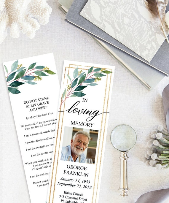 Funeral Bookmark Template Printable Celebration Of Life Bookmarks Editable In Loving Memory Instant Download Garden Greens