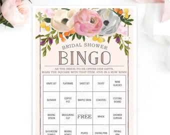 Bridal Shower Bingo Game - 76 Unique Game Sheets - Wedding Shower Game - Shower Bingo - Sweet Blooms - Bridal Bingo Instant Download