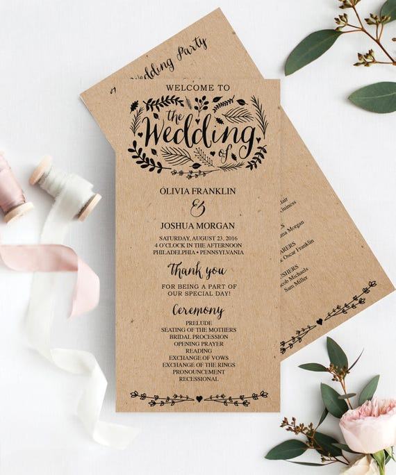 wedding program template 4x8 wedding program editable etsy