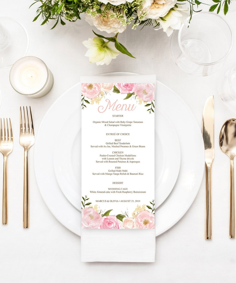 picture relating to Printable Menu Cards named Marriage ceremony Menu Printable - Meal Menu Playing cards Template - Printable Menu - Menu Playing cards for Marriage - Bridal Shower Decorations - Purple Floral