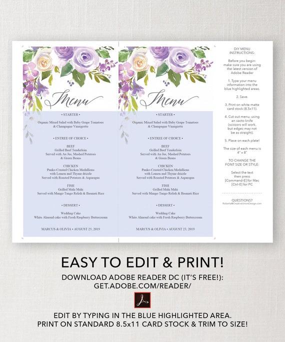 Wedding Menu Printable Menu Template Editable Menu Template