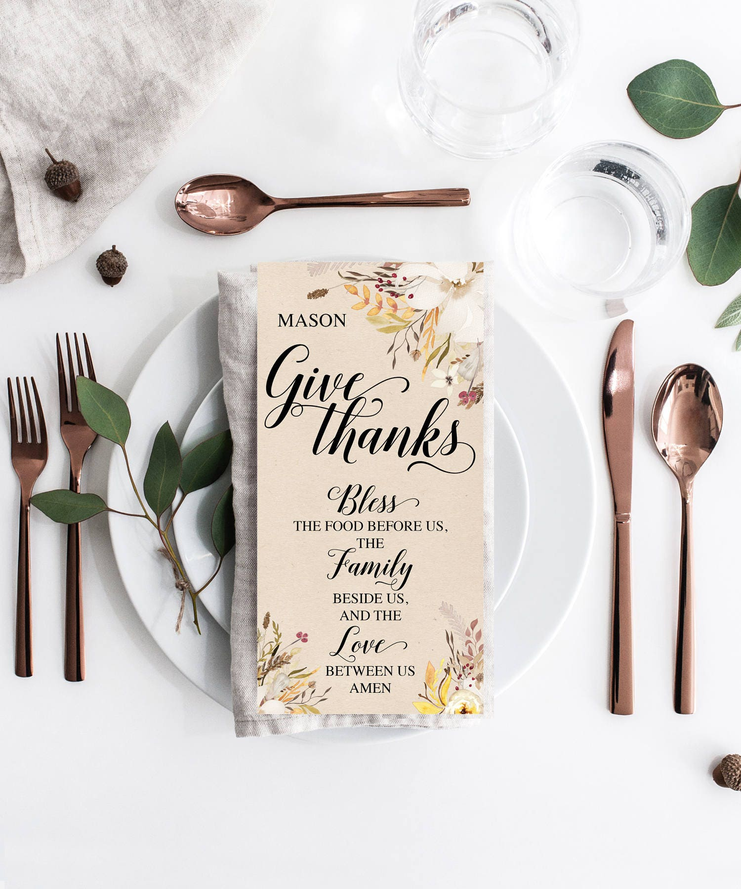 Thanksgiving Place Card Thanksgiving Prayer Thanksgiving Table Decor Thanksgiving Decorations Name Card Give Thanks Instant Download
