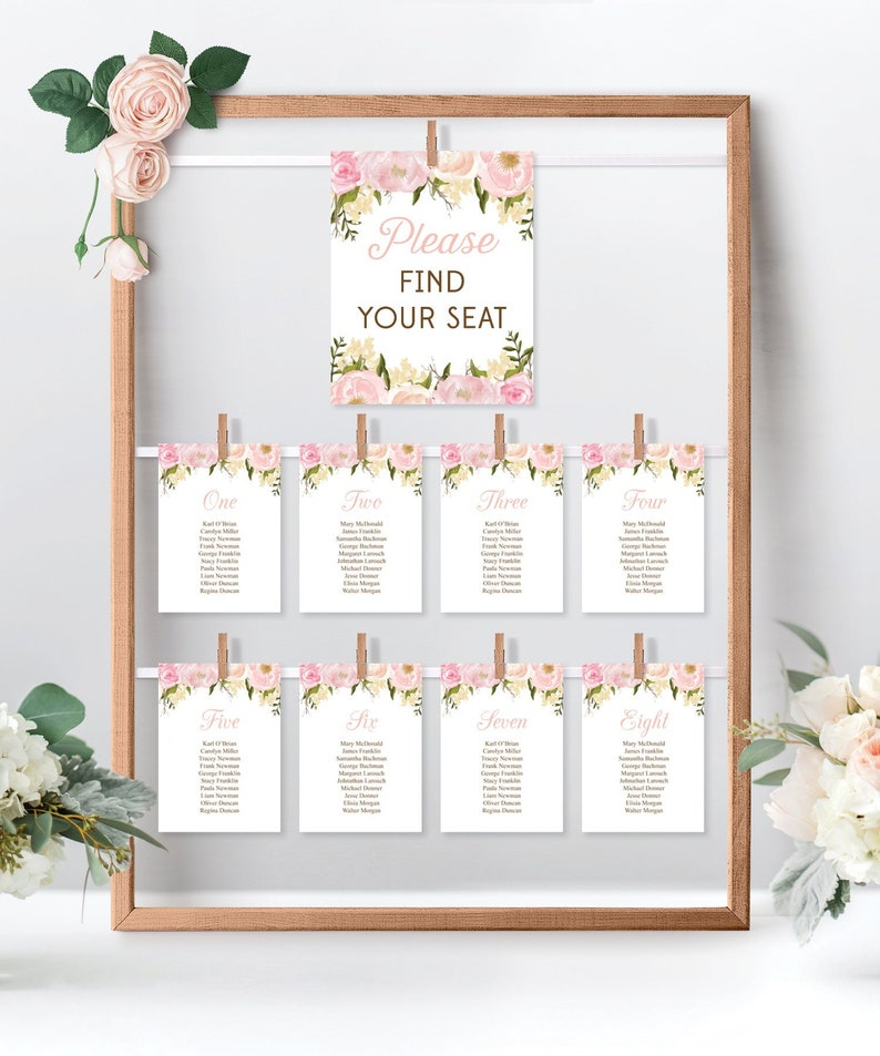 photograph about Printable Wedding Seating Chart named Marriage Seating Chart Template - Do-it-yourself Printable Marriage ceremony Desk Settlement - Purple Floral - Putting Seating Chart - Printable Letter A4